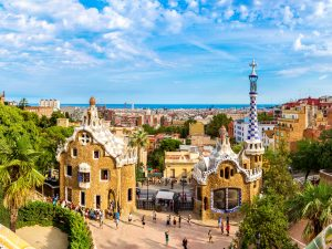 Park Guell by architect Gaudi in a summer day in Barcelona Spain.